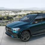 2021 Mercedes-Benz GLE parked overlooking valley town