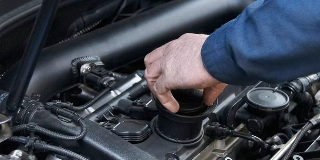 Mercedes-Benz mechanic checking engine
