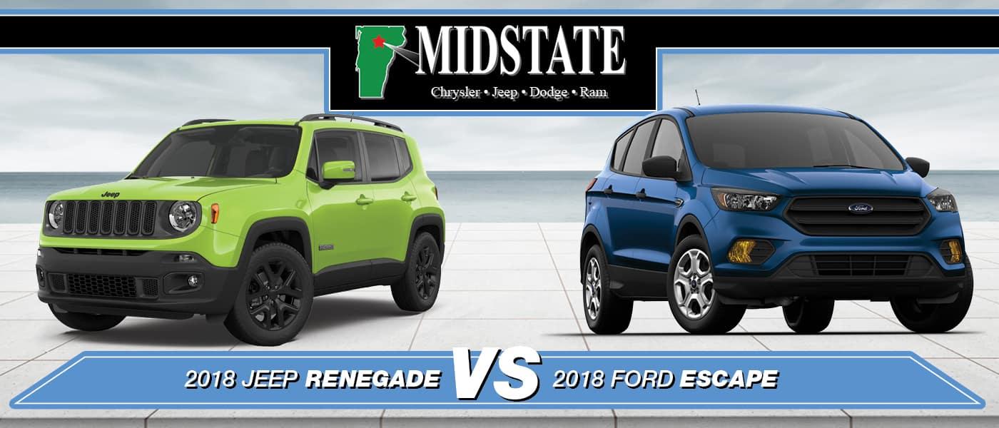 2018 Jeep Renegade Vs 2018 Ford Escape Barre Vt