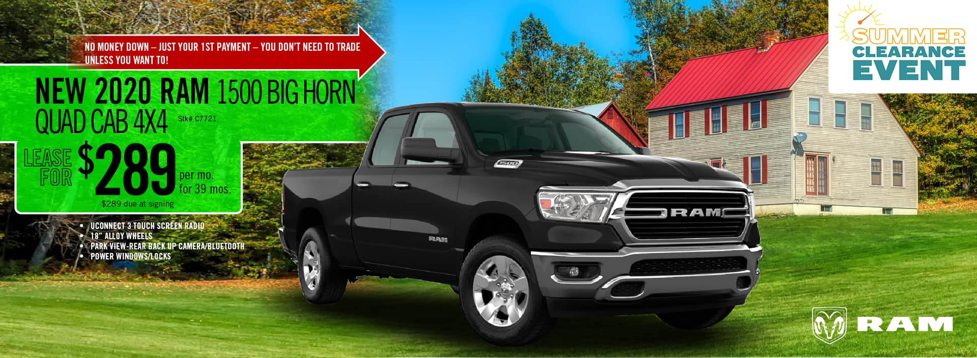 2020 RAM 1500 Big Horn Quad Cab lease deal $289 for 39 months | Barre, VT