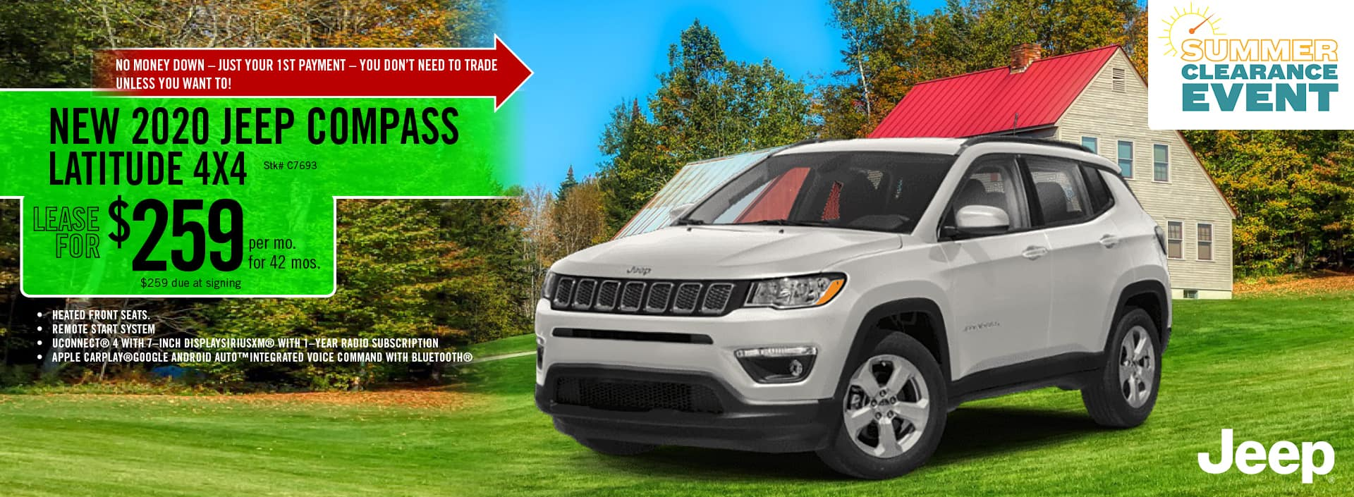 2020 Jeep Compass lease deal $259 for 42 months | Barre, VT