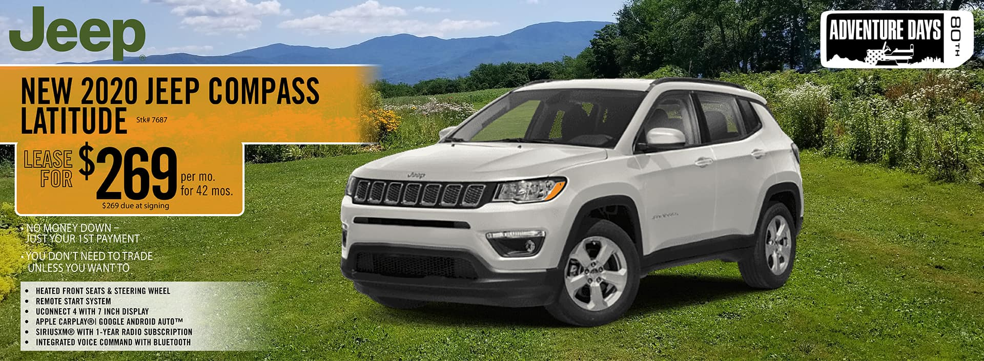 2020 Jeep Compass lease deal $269 for 42 months | Barre, VT