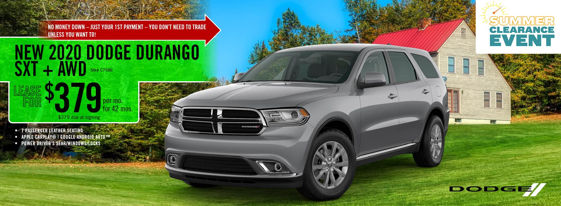 2020 Dodge Durango SXT lease deal $397 for 42 months | Barre, VT