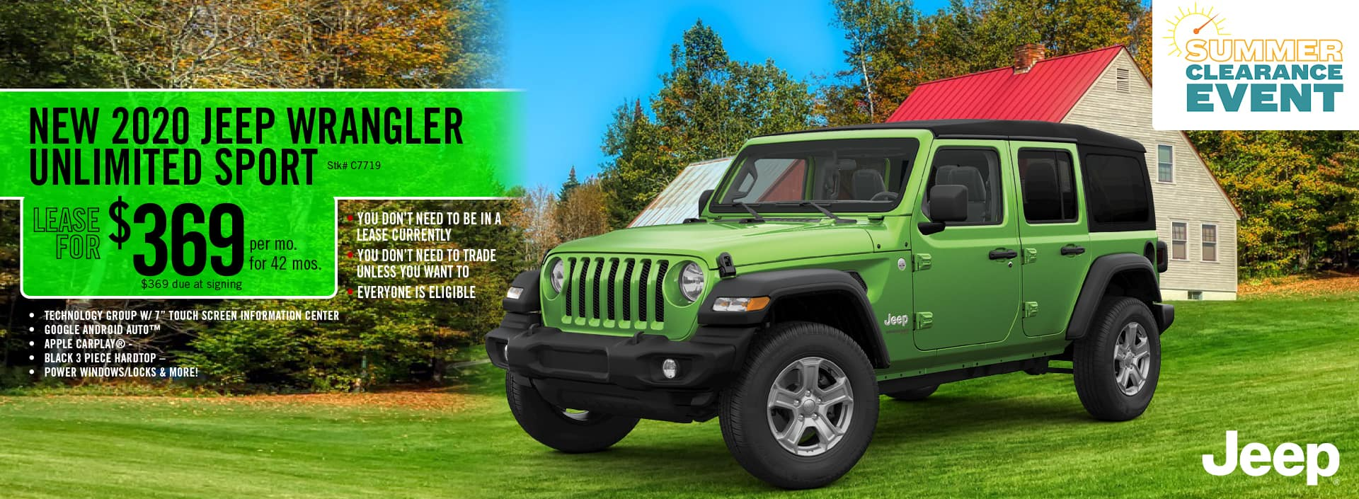 2020 Jeep Wrangler Unlimited Sport lease deal $369 for 42 months | Barre, VT