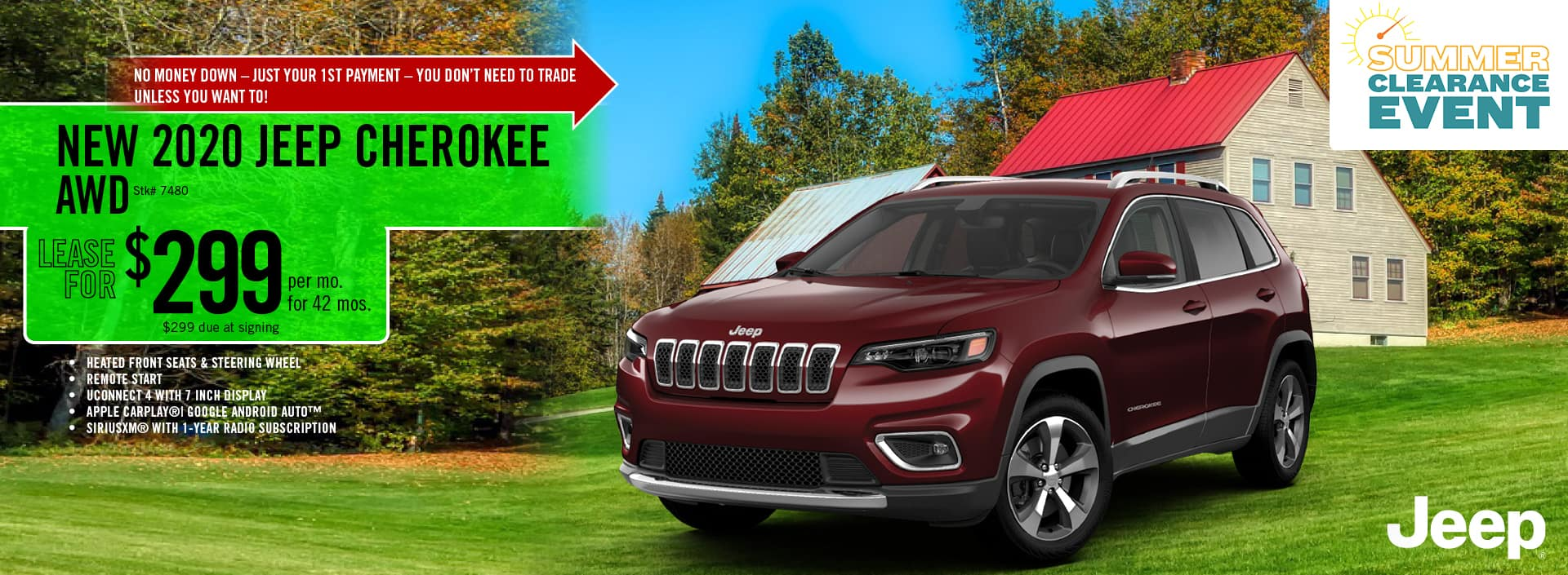 2020 Jeep Cherokee lease deal $299 for 42 months | Barre, VT