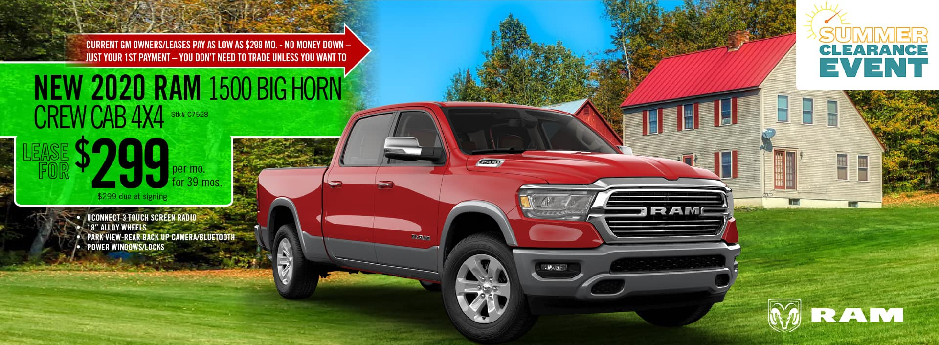 2020 RAM 1500 Big Horn Crew Cab lease deal $299 for 39 months | Barre, VT
