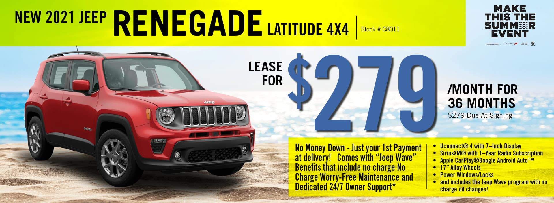 2021 Jeep Renegade Lease Offer   Barre, VT