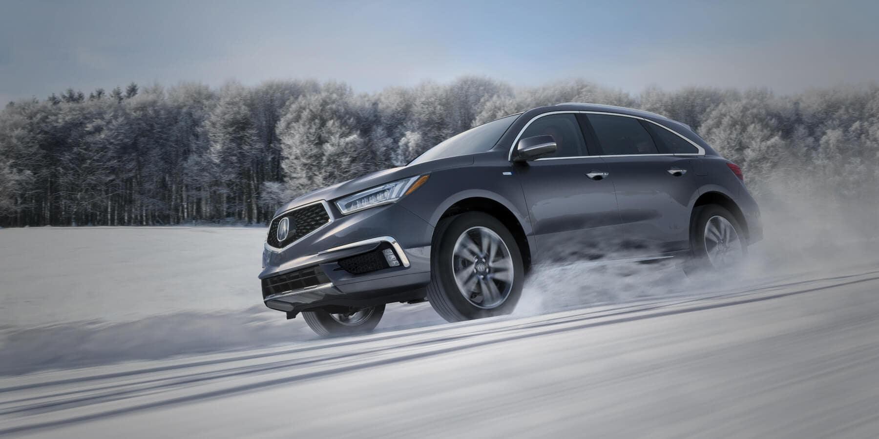 2019 Acura MDX Modern Steel Metallic Front Angle Snow HP Slide