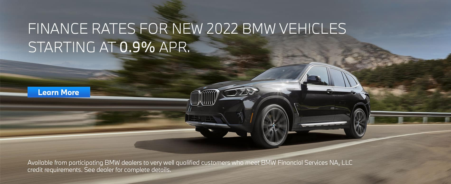 Finance a New 2022 BMW from 0.9% APR. Grey X3 driving down road.