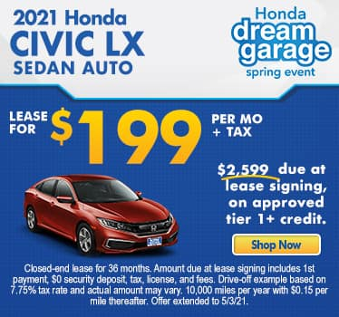 New 2021 Honda Civic LX Sedan Auto