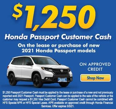 $1,250 Honda Passport Customer Cash