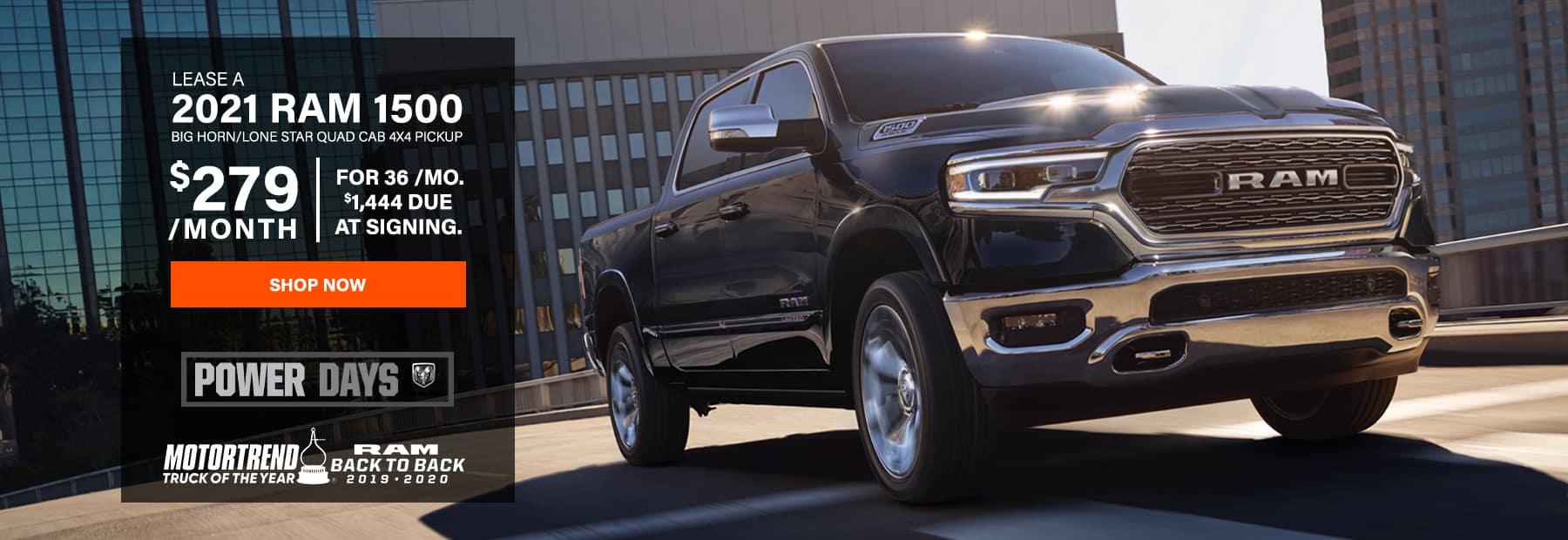 Lease a 2021 Ram 1500 Big Horn / Lone Star Quad Cab 4x4 Pickup Truck
