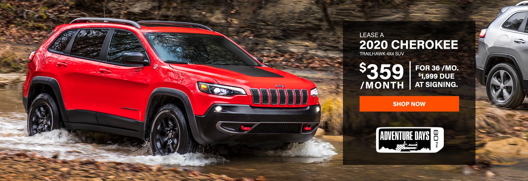 Lease a 2020 Jeep Cherokee Trailhawk 4x4 SUV for $359/mo. for 36 mos. with $1,999 down