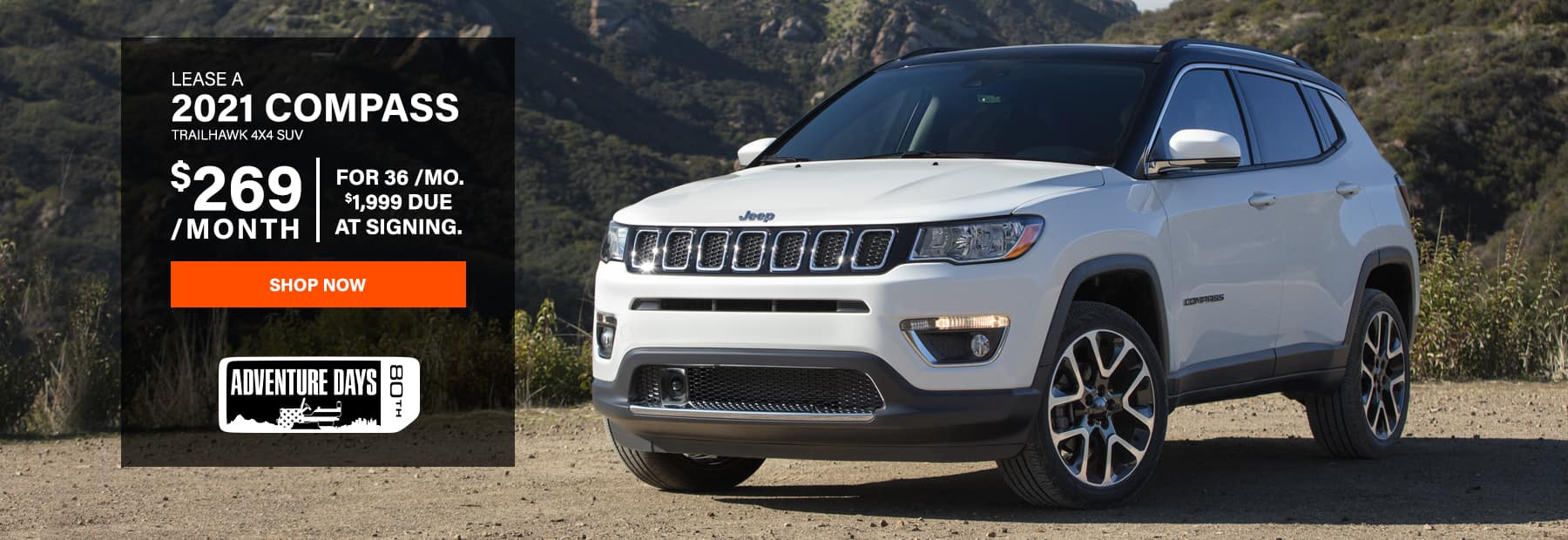 Lease a 2021 Jeep Compass Trailhawk 4x4 SUV for $269/mo. for 36 mos. with $1,999 down