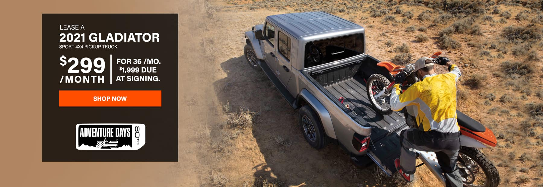 Lease a 2021 Jeep Gladiator Sport 4x4 Pickup Truck for $299/mo. for 36 mos. with $1,999 down