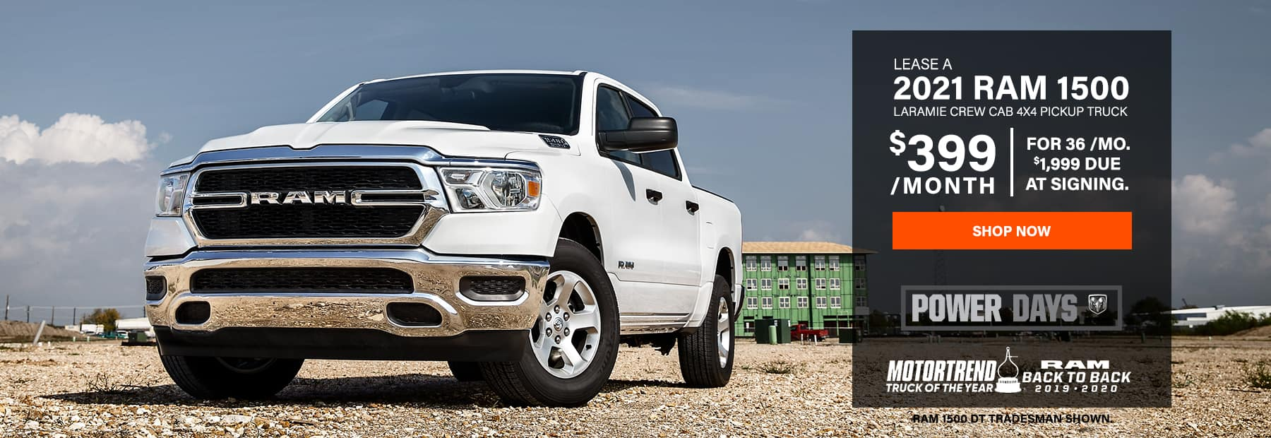 Lease a 2021 Ram 1500 Laramie Crew Cab 4x4 Pickup Truck for $399/mo. for 36 mos. with $1,999 down