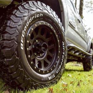 truck tire on grass