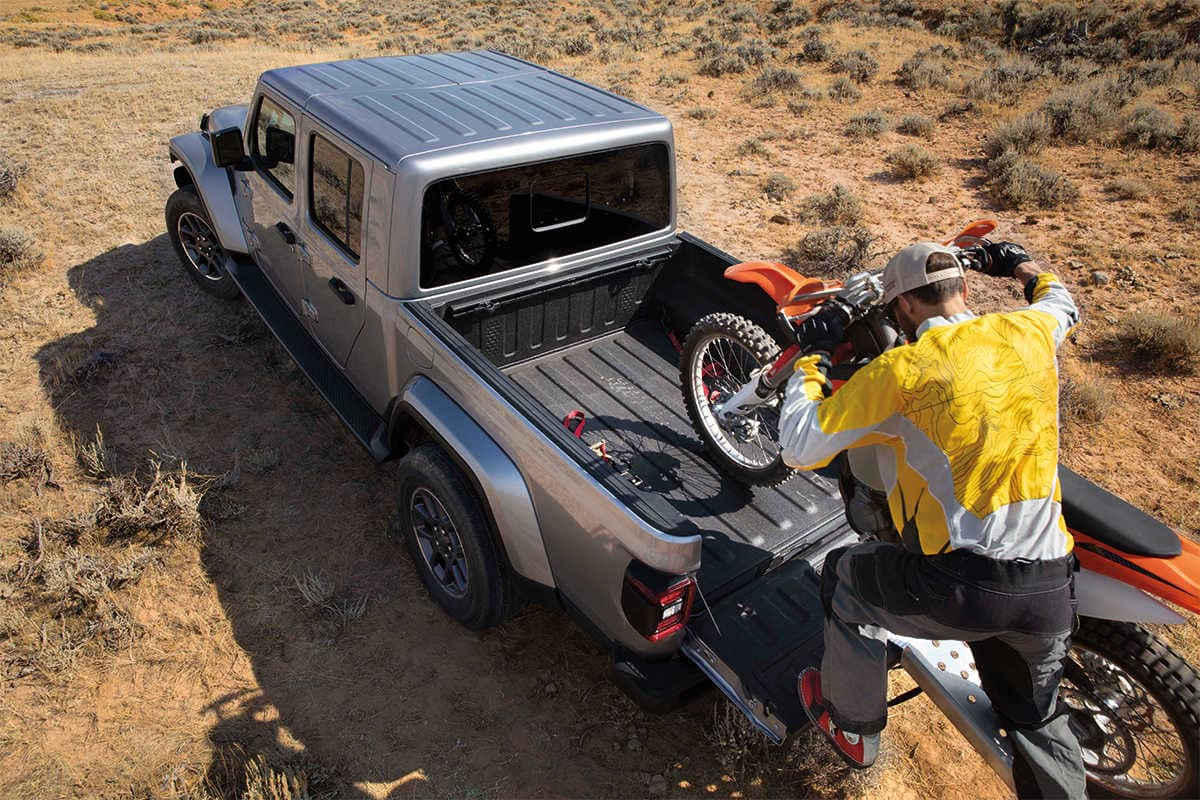2020 Jeep Gladiator with motorcycle