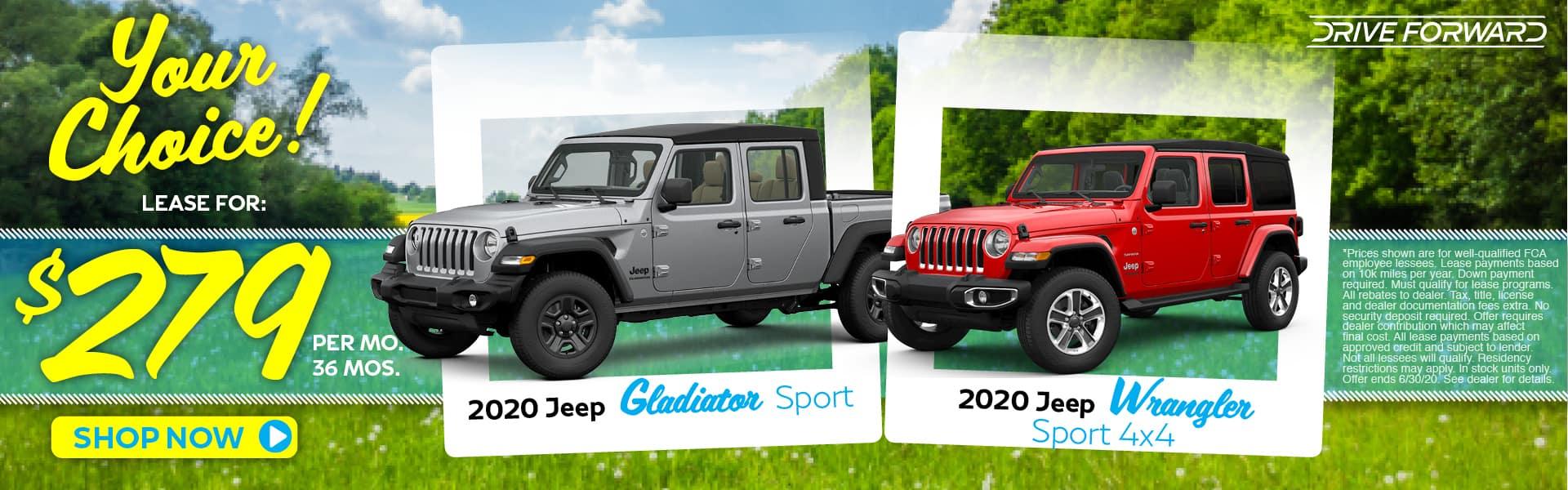2020 Jeep Gladiator and Wrangler Lease Specials in Pinckney, MI