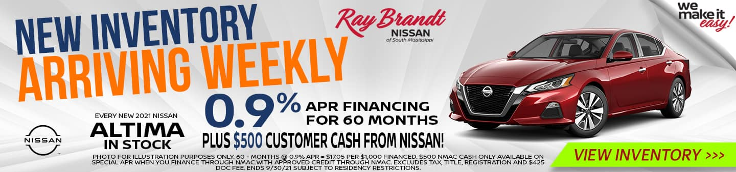 New Inventory Arriving Weekly Nissan Altima 0.9%