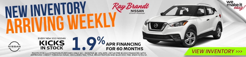 New Inventory Arriving Weekly Nissan Kicks 1.9%