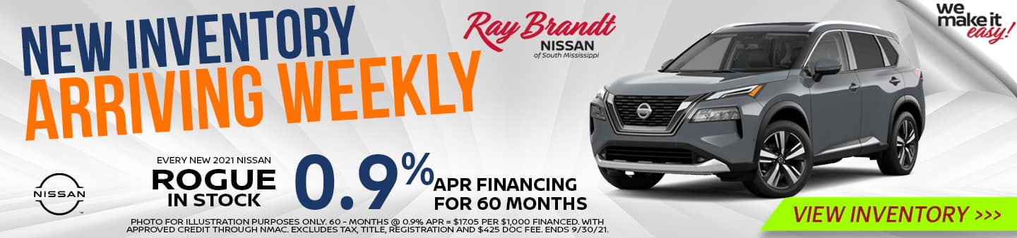 New Inventory Arriving Weekly Nissan Rogue 0.9%