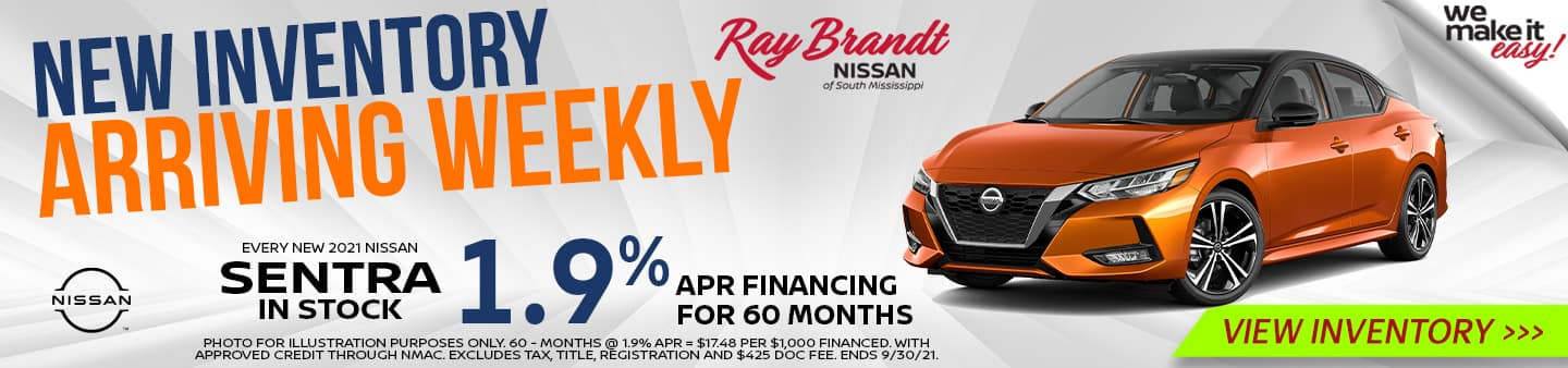 New Inventory Arriving Weekly Nissan Sentra 1.9%