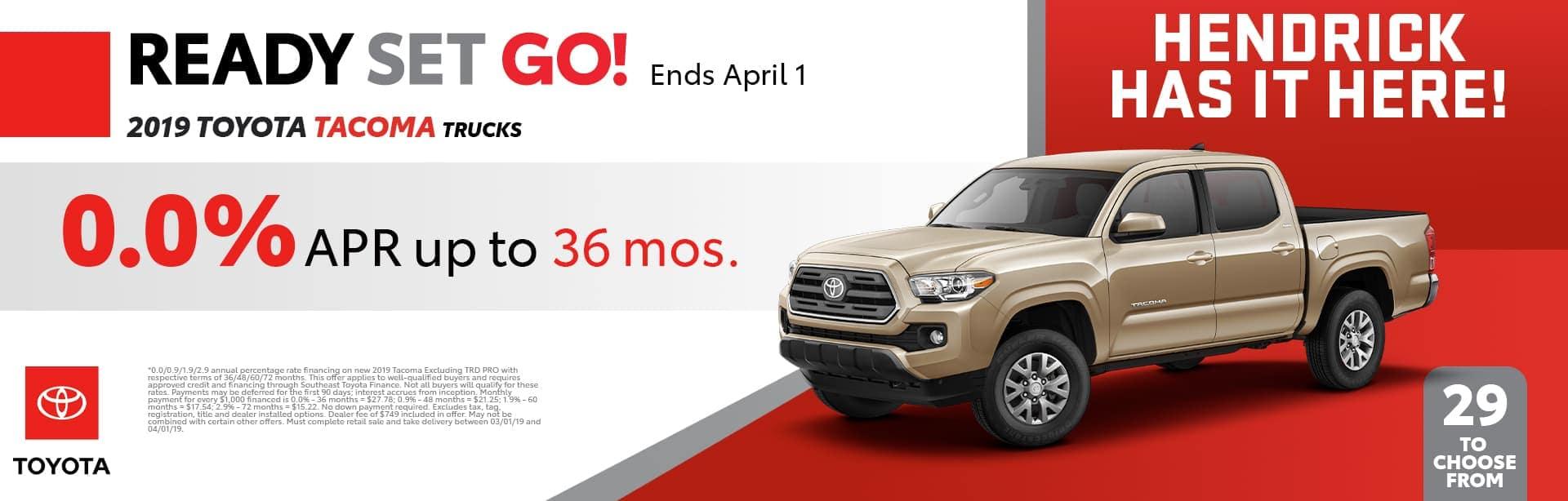 2019 Toyota Tacoma Trucks promo banner