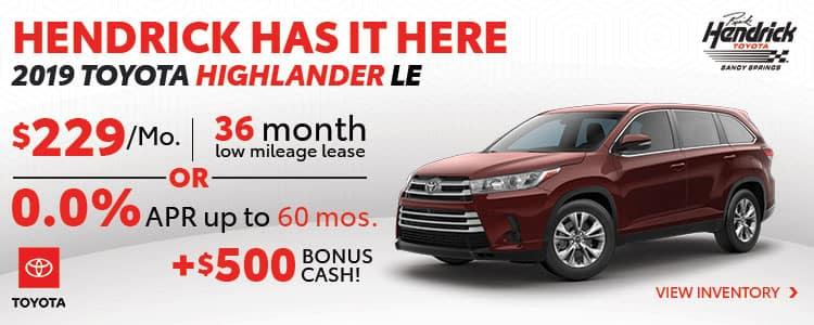 New 2019 Toyota Highlander Special