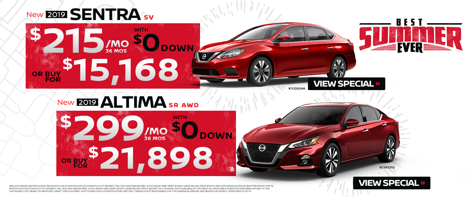 New Altima & Sentra Best Summer Sales Event July 2019