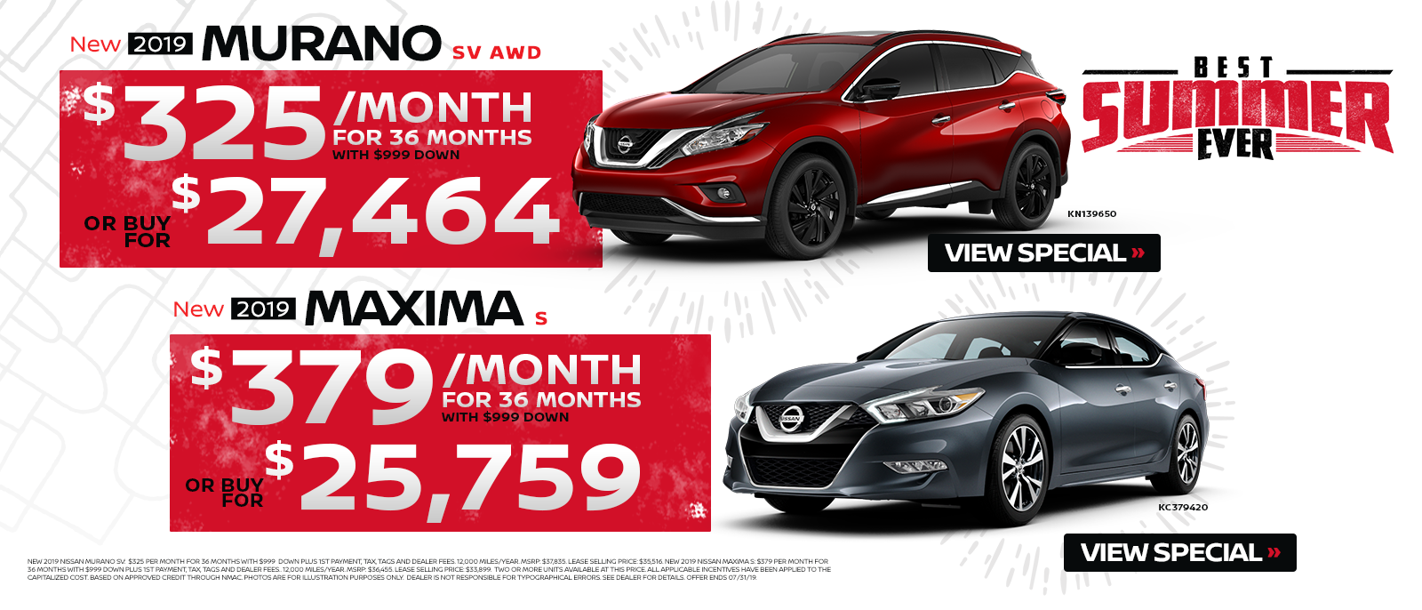 Murano & Maxima Summer Sales Event July 2019