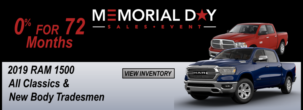 May 2019 Memorial Day Offer Ram 1500 0% for 72