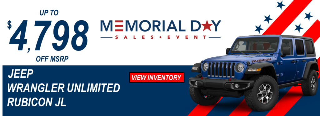 May 2019 Memorial Day Offer Jeep Wrangler Unlimited JL
