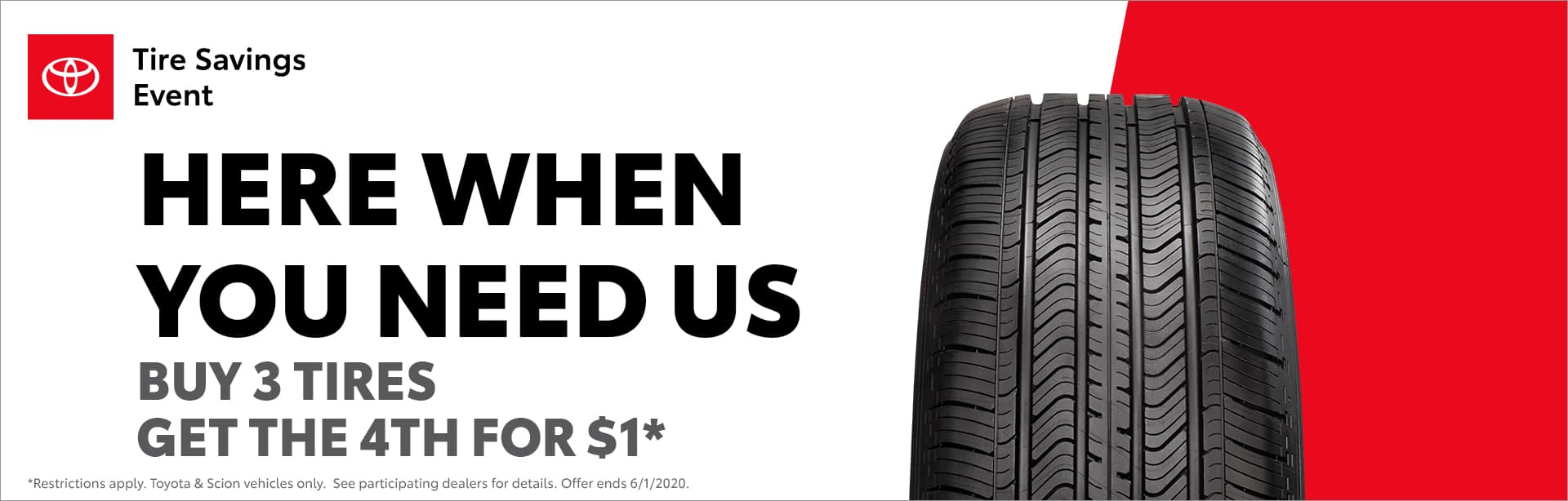 Buy 3 get 4th $1 tires