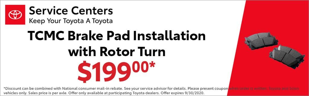 tcmc brake pad installation with rotor turn $199