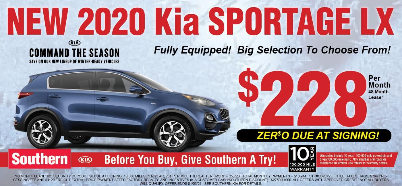 December Kia Sportage $228