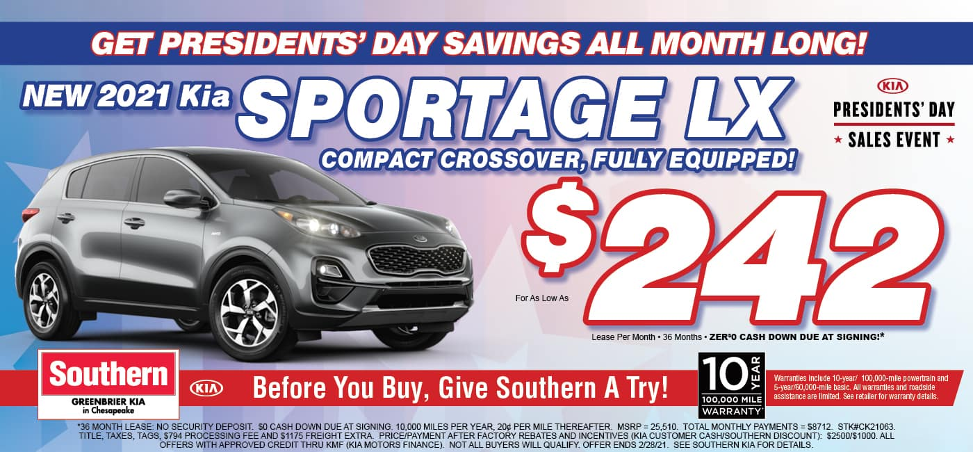 February Kia Sportage – Greenbrier