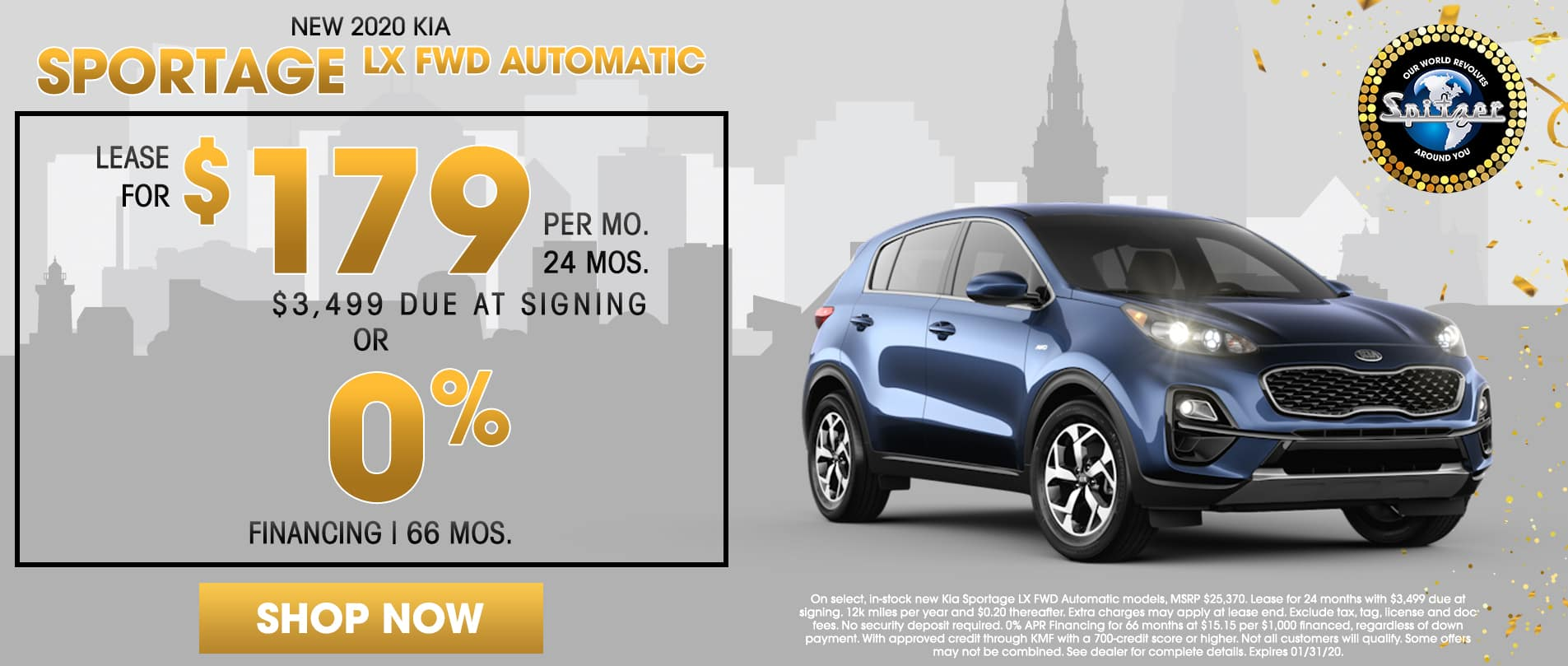Sportage | Lease for $179 per mo / 0% financing for 66 mos