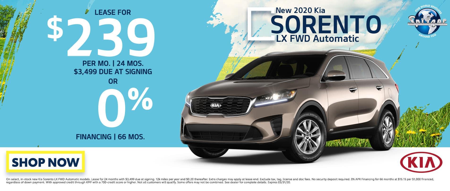 Sorento   Lease for $239