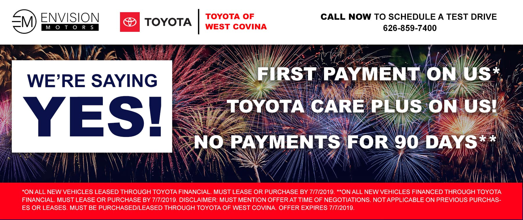 Toyota Financial Payment >> Yes Sales Event Toyota Of West Covina