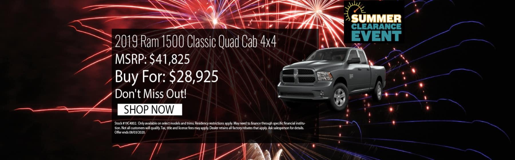 2019 RAM 1500 Classic July Offer