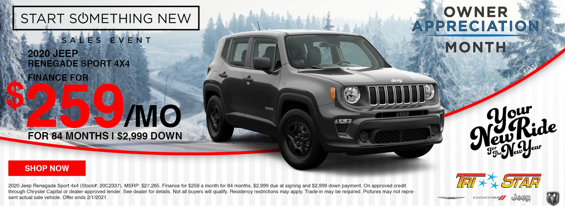 2020 Jeep Renegade Lease for $259/mo