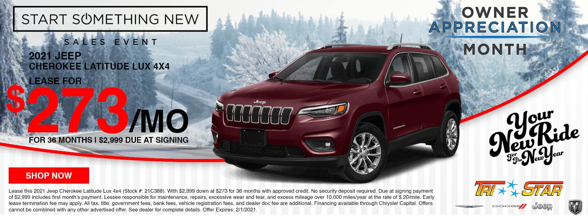 Lease a 2021 Jeep Cherokee Latitude for $273/mo