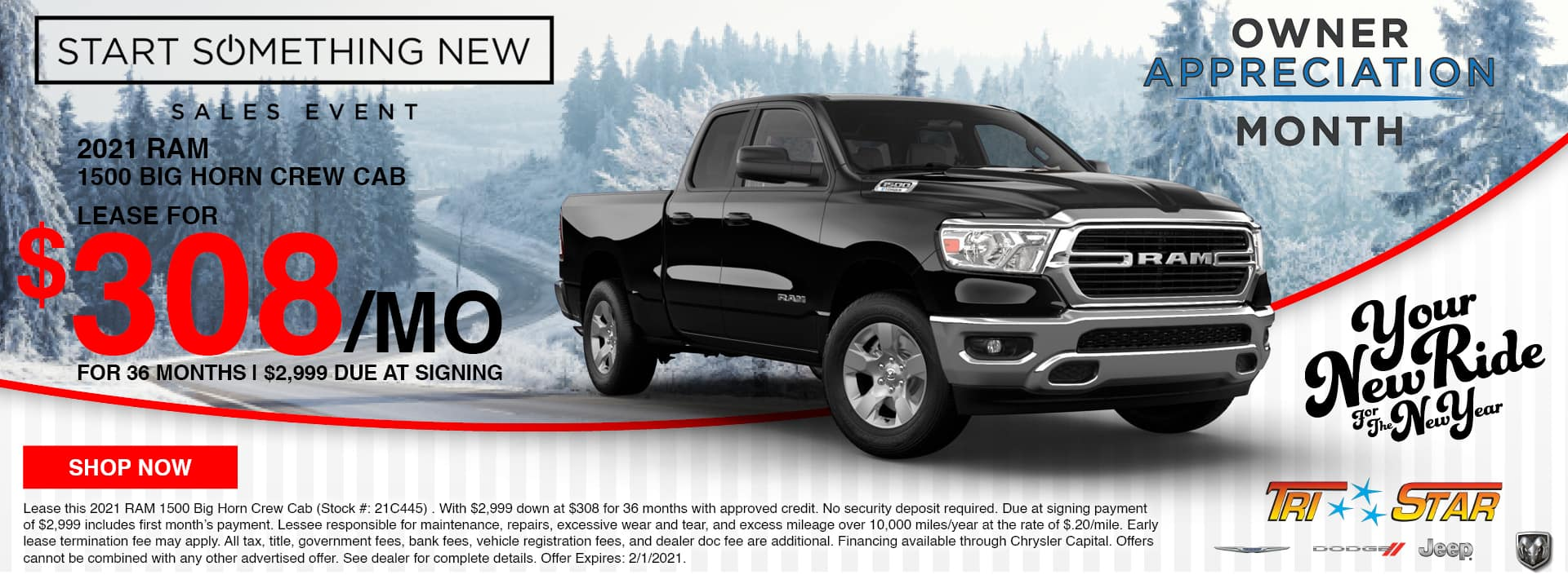 Lease a 2021 Ram 1500 for $308/mo