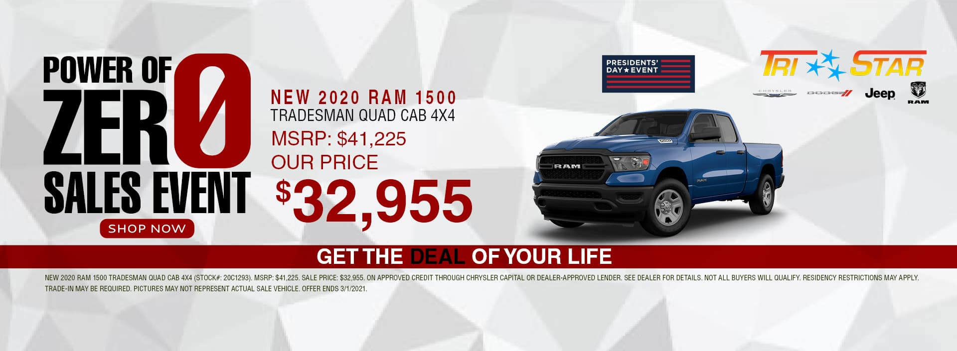 Power of 0 Sales Event - 2020 Ram 1500 $32,955