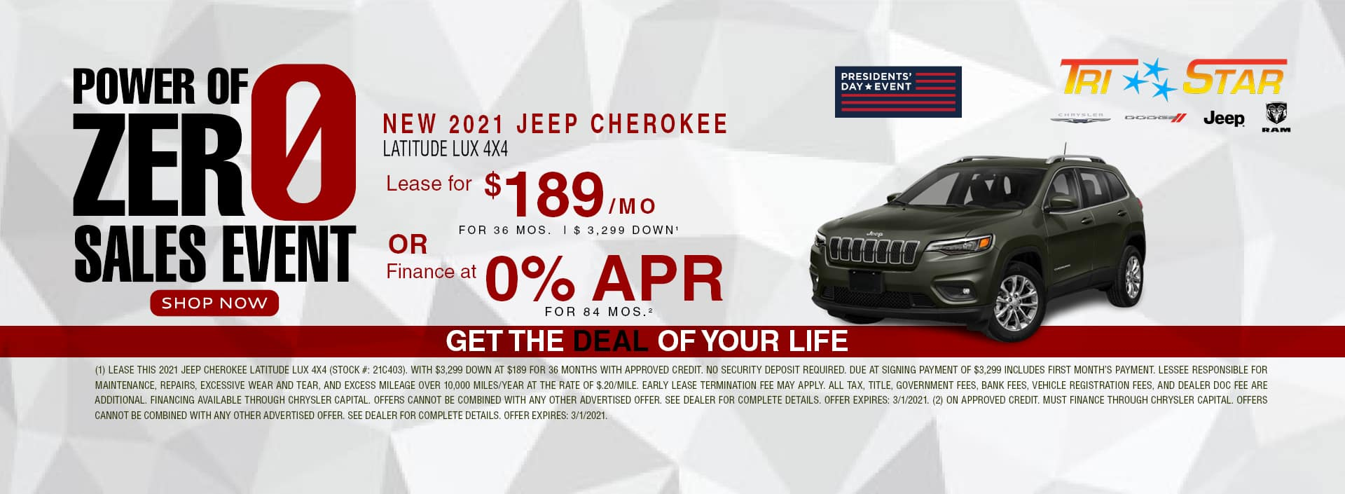 Power of 0 sales event - 2021 Jeep Cherokee Lease for $189/mo