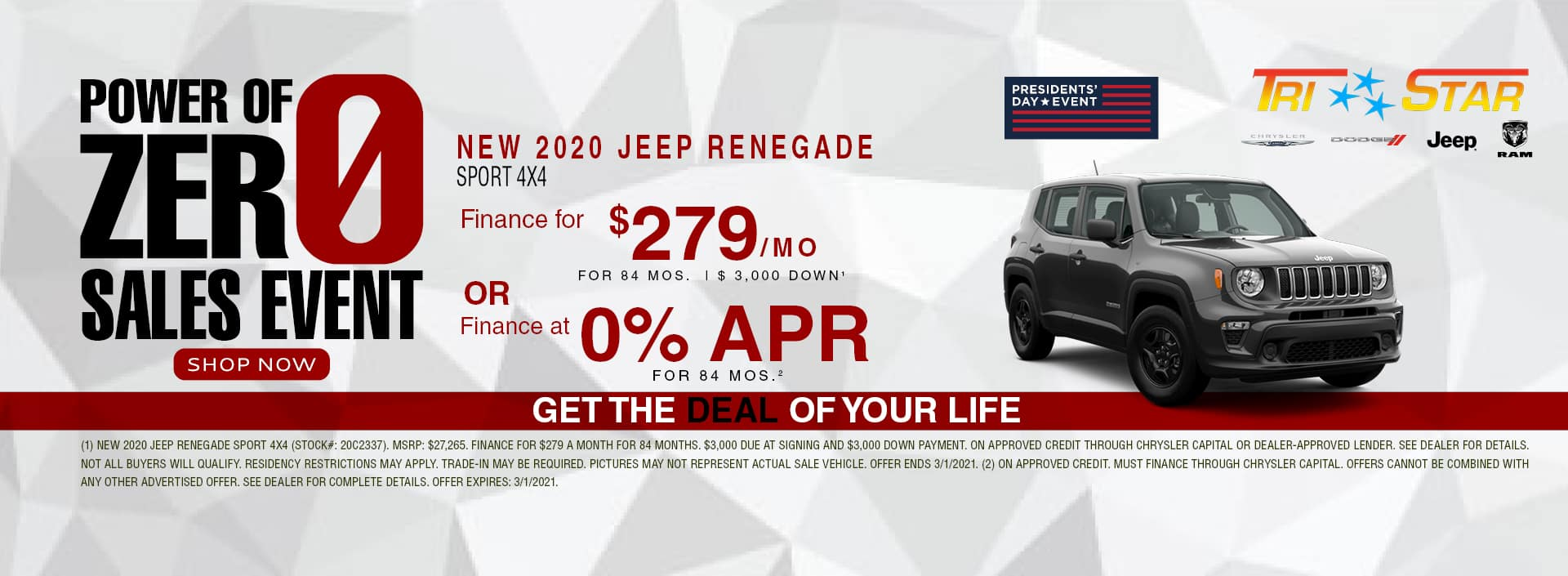Power of 0 Sales Event - 2020 Jeep Renegade $279/mo