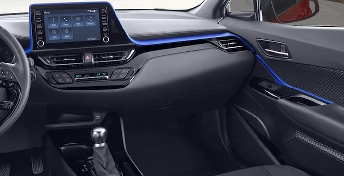 2020 Toyota C-HR XLE Black fabric interior with Blue accent
