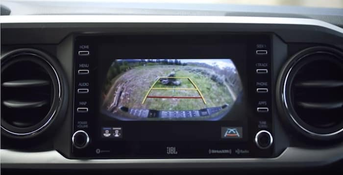 2020 Toyota Tacoma integrated backup camera with rear parking sonar