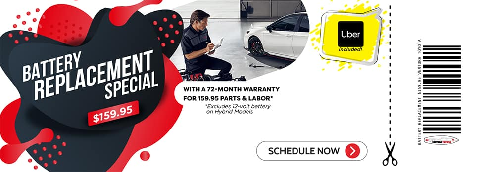 battery replacement service special at Ventura Toyota dealership